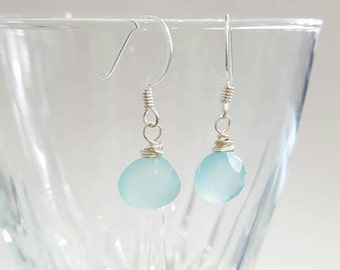 Blue Gemstone Earrings - Chalcedony - Aqua - Sterling Silver - Teardrop - Dangle - Simple - Delicate - Everyday Jewelry - Gifts for her