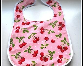 Vintage Retro Pink Cherrys Baby Bib.... Rockabilly, Retro, Cherry Print