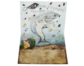 3D Pop Up Card - Graduation Shark Congratulations