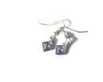 iolite briolette square silver dangle earrings