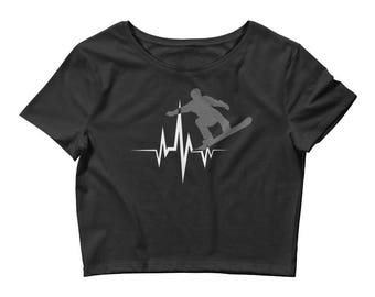 Awesome Heartbeat Snowboarder Women's Crop Top