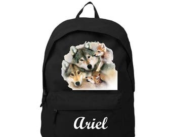 Backpack Black Wolf personalized with name
