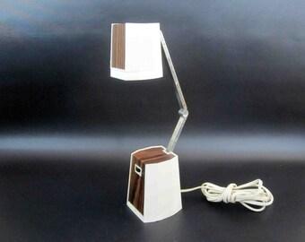 Vintage Modern Compact Obelisk Task Lamp in White with Wood Veneer. Circa 1970's.