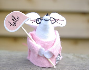 Felt mouse with glasses, hello sign, Felt mice, Cute mouse, Gifts,