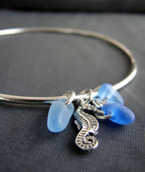 Little Seahorse sea glass bracelet in blues