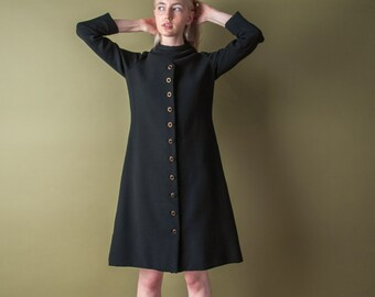 MOLLIE PARNIS black a line dress / vintage MOD dress / scooter dress / s / 1978d / R2