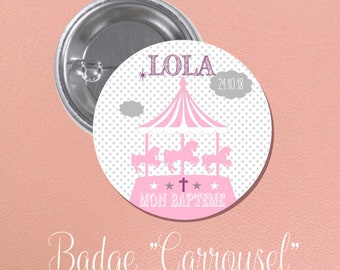"""BADGE of baptism for guest gift theme """"Carousel"""""""