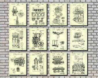 Mechanic Gifts, Engineering Art, Set 12 Engine Patent Prints, Garage Signs, Garage Decor, Engineer Gifts