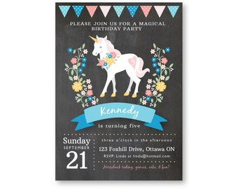 Unicorn Invitation, Printable, Customized Text, Girl's Unicorn Party, Floral bunting unicorn