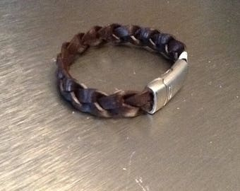 Braided leather bracelet magnetic over clasp