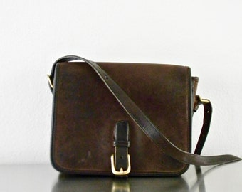Vintage Coach NYC Mocha Leather Saddle Pouch Medium, Refurbished Original Factory Made Vintage Chocolate Leather Flap Front Purse