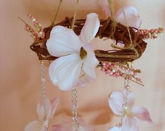 Pink Flower Chandelier Sun Catcher, Mobile, Chandelier, Spring Decor