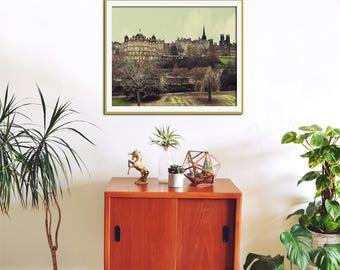 Scotland Photography, City Art, Edinburgh Skyline, Cityscape Art, Photography Print, City Wall Art, Travel Print
