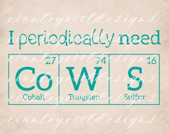 I Periodically Need Cows, Periodic Table, Decal, Cow Decal, Science Decal, Stock Show Life, 4-H, Nerd Decal, Car Decal, Sticker, Tumbler