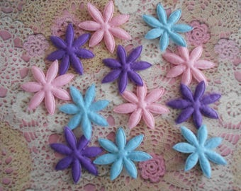 Pink, blue and purple adhesive felt flowers with a sticky adhesive on the back of 5.00 mm diameter (per 12 flowers).