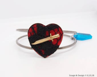Heart Bracelet - Erzulie Dantor Heart and Dagger Bracelet by Ugly Shyla - Valentines - Voodoo - Black Lace - Gothic Jewelry - loa - hoodoo