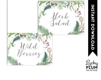 Wildflower Food Tent Card / Wildflower Place card / Wild Flower Food Card / Woodland Floral Botanical / Digital Printable WF01
