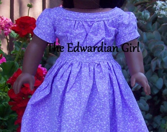OOAK 1860's lavender doll dress.  Purple boat neck, victorian. For 18 inch play dolls such as American Girl, Springfield, OG. Made in USA
