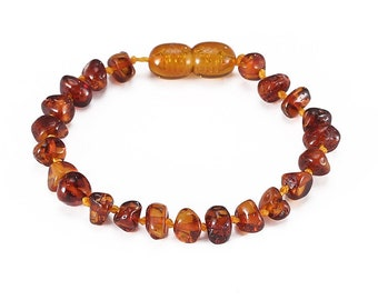 Natural Stone Polished Baltic Amber Bracelet for Adults- Healing Stone