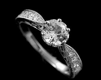 Moissanite Engagement Ring, Vintage Style Engraved Ring, Pave Diamond Engagement Ring, Forever One Moissanite Ring, Antique White Gold Ring