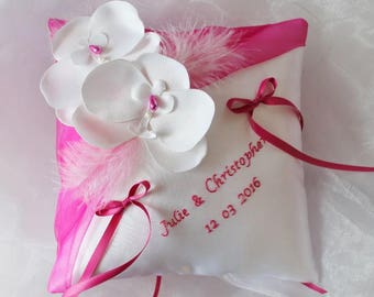 With or without embroidery, cushion alliances Orchid wedding pillow, white (or ivory) and Fuchsia