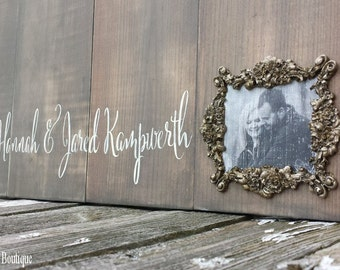 Rustic WOODEN GUEST BOARD with Photo, Name, Date & Distressed Heart, This Day I will Marry my Best Friend Quote, Guest Book Alternative