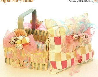 On Sale Flower Girl Basket and Ring Bearer Pillow Set, Seashells and Multi Color Woven Wicker & Satin