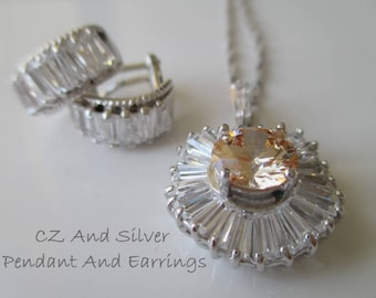 Necklace Earring Set * CZ And Silver * Sparkly * Gift For Lady