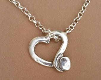 Chain necklace with heart pendant, heart necklace, silver heart necklace, women's chain necklace with heart Pendant