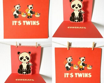 New Baby Twins Card, Baby Twins Card, Pop Up Card, Cute New Baby  Card, Twins Card, Panda Card