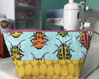 Small Open Wide Pouch in Rainbow Beetles   Zippered Pouch   Cosmetic Bag