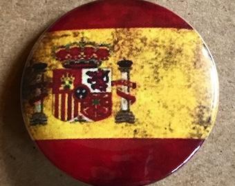 Spain Flag Pinback Button, Spanish Flag Magnet, Spain Pins, Spaniard Keychain, Spanish Flag Badge, Backpack Pin, World Traveler, Travel Pins
