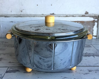Vintage Manning Bowman Electric Divided Dish - No. 101 Chrome Bakelite Serving
