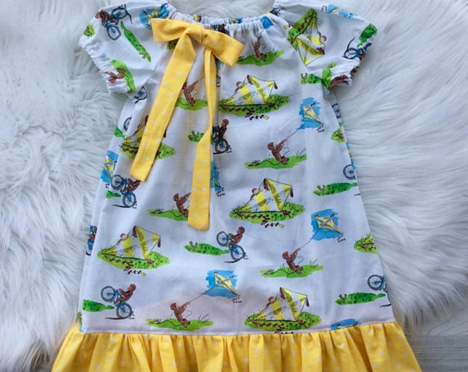 Curious George Peasant Dress by Hola Lalla Birthday Dress Vacation Dress Toddler Baby Girls Dress Princess