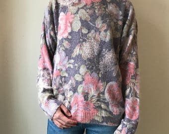 romantic Private Party floral sweater made of Silk and angora
