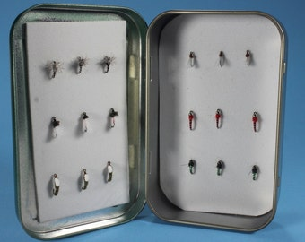Midge fly selection, fly fishing flies,  hand-tied flies, fishing flies in  a box, Trout flies, Midges, dry flies, nymph flies