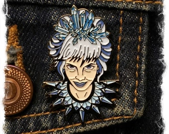 Crystal Ice Queen- enamel lapel pin- SINGLE ITEM