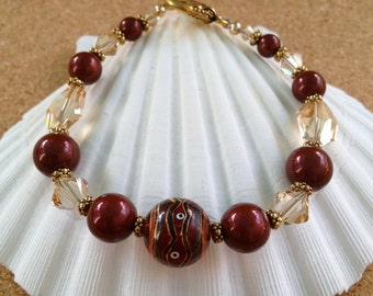 GARNET and GOLD Painted Glass Bead and Swarovski Crystal & Pearl Bracelet - Florida State Seminoles, Noles, Any Size - Made in USA