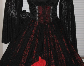 DDNJ Reversible Underbust Bodice Lace Slv Chemise Lace Petal Skirt 4pc Renaissance Goth Gypsy Pirate Plus Custom Made ANY Size Costume