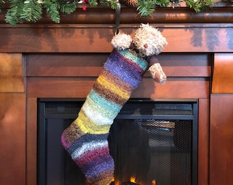Festive Hand Knitted Christmas Stocking - Gold, Violet, Mint - Noro wool/ silk/ cotton