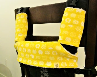 Cat(yellow) Japanese double gauze- Baby carrier drool pads/teething pads/suck pads,bib for Ergo, Beco,Tula, Boba, Lillebaby-Gift for new mom