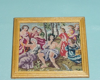 "Dollhouse Miniature 1:12 Framed Petitpoint Needlepoint Art ""The Ancient Greeks"" (#3)"
