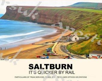 Vintage Style Railway Poster Saltburn A3/A2 Print