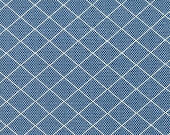 By the HALF YARD - Bread n' Butter by Sandy Klop of American Jane for Moda, #21695-13 Royal Blue Diamond Grid, Diagonal White Stripes
