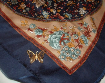 Monet Butterfly Brooch and Lovely Flower Scarf,