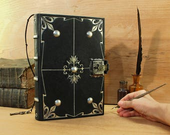 "Journal with Lock and Key, Black Leather - ""Magic Shine"""