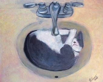 Cat Art - Tuxedo Cat in Sink - 8x10 PRINT - Gift for Cat Lover