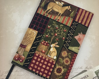 2018-2019 Academic A5 Week to View Diary Hand Covered in a beautiful contemporary Farmyard Country Kitchen fabric