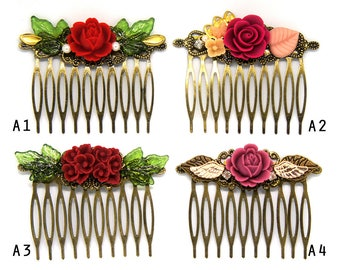 Flower Shabby Chic Collage Comb - OOAK Victorian Style Shabby Chic Flower Collage Hair Comb - Pearl Rhinestone Flower - Wedding Accessories
