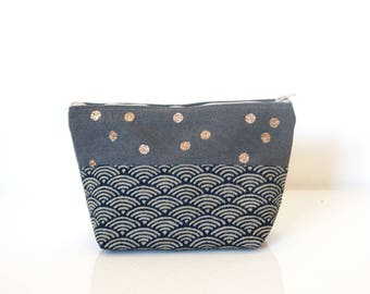 "Make up Case made in cotton with watercolor dots and  glitter  ""Elea"" // purse // bathroom"